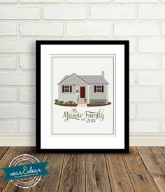Custom Home Illustration : Meaningful Gift - New Home Gift, First Home, Special Occasion Gift Real Estate Closing Gift $100
