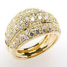 Genuine Diamond Wide Band Cocktail Ring 18K Gold - EraGem