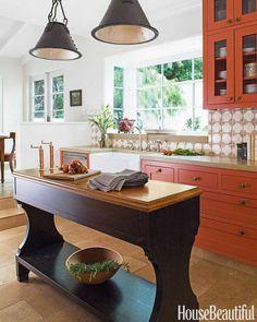 Island and lights - Paprika color kitchen by Melanie Coddington – House Beautiful via Atticmag