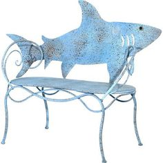Lend a playful touch to your garden or sunroom with this charming metal bench, showcasing a shark-shaped back and scrolling details. I love sharks! V