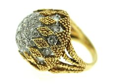 18 ct Diamond and gold cocktails ring Robin Katz Vintage Jewels