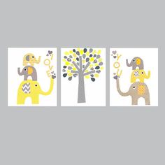 Yellow and Grey Animal Nursery Artwork Print // Baby Room Decoration // Kids Room Decoration // Gifts Under 50 on Etsy, $42.00