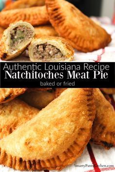 Natchitoches Meat Pie Pastry filled with beef, pork, onions and seasonings! Instructions for frying or baking!<br> Savory, seasoned ground beef and pork, tucked inside a crispy pastry. Meat Recipes, Mexican Food Recipes, Cooking Recipes, Cajun Meat Pie Recipe, Mexican Meat Pie Recipe, Louisiana Meat Pie Recipe, Meat Pie Pastry Recipe, Pasty Pie Recipe, Meat Hand Pie Recipe