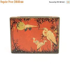 ON SALE Vintage Tin Box Deep Orange with Asian di unclejimsattic