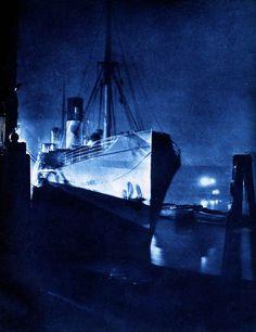 """""""London Night"""" by Harold Burdekin (1934) from Spitalfields Life - Riverside, East End 2"""