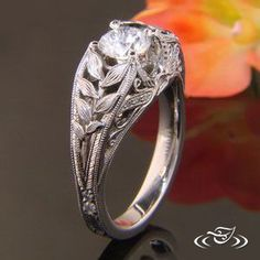 ORGANIC PALLADIUM DIAMOND MOUNTING WITH TOP FACE FABRICATED LEAVES #GreenLakeJewelry