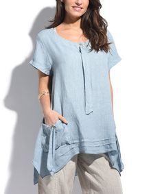 Another great find on #zulily! Sky Blue Pocket Linen Sidetail Tunic - Plus Too #zulilyfinds
