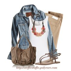 """""""Casual Style with Denim & Khaki"""" by steffiestaffie on Polyvore"""