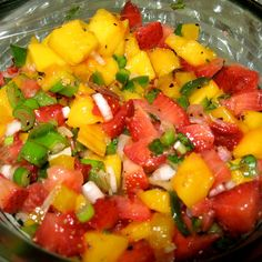 mango, strawberries, onion, tomatoes, cilantro salsa