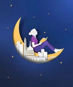 Lectura nocturna, lectura lunática (ilustación de Eiko Ojala)