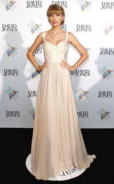 T.Swift in an ivory Elie Saab dress
