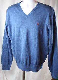 Polo Ralph Lauren Mens Pima Cotton V Neck Long Sleeve Pony Blue Sweater LG NWT #PoloRalphLauren #VNeck