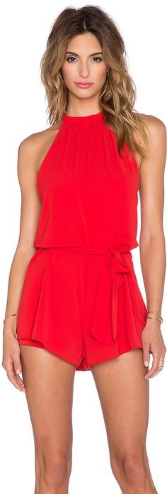 1113c1d334a7 Saylor Turtleneck Sleeveless Emmy Romper in Red Kustom Label