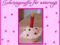e-book/Häkelanleitung Muffin mit Kerze,gehäkelt taartje cupcake muffin kaars verjaardag