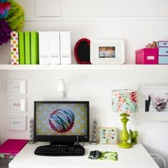 A Photographers before and after home office makeover, white with bright accents.
