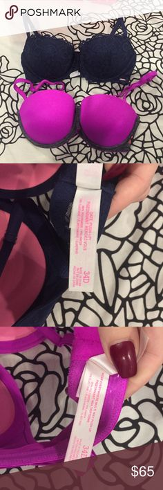 BUNDLE Victoria's Secret PINK bras Both size 34D. Worn once and in absolutely perfect condition. I am selling them because they aren't my size. The navy one is the Date push up Bra and that has straps that are connected. The pink one is the multi way push up bra and the straps can be taken off. Price is as a bundle but if you want one it will be half the price. Just message me that you want one! PINK Victoria's Secret Intimates & Sleepwear Bras