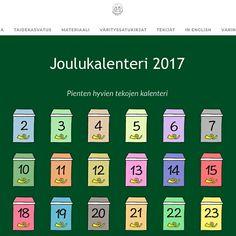 Vuoden 2017 joulukalenteri on julkaistu kokonaisuudessaan! Christmas Calendar, Advent Calendar, Education, Holiday Decor, Advent Calenders, Onderwijs, Learning
