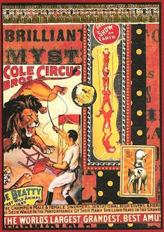 A collection of original art by Kris Dickinson, Copyright Kris Dickinson, Vintage Circus, Vintage Ads, Vintage Posters, Vintage Photos, Art Posters, Female Swimmers, Circus Poster, Artist Trading Cards, Advertising Poster