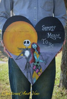 Pallet Wood Sign Nightmare Before Christmas Inspired Art Jack Skellington Sally Pallet Wall Art Hand Painted Heart Sign - Halloween Makeup Pallet Wall Art, Wood Pallet Signs, Wood Pallets, Wood Signs, Pallet Walls, 1001 Pallets, Jack Skellington, Halloween Palette, Fall Halloween