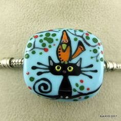 THE PURRING PERCH byKAYO a handmade lampwork CAT glass charm BRACELET bead SRA #Lampwork