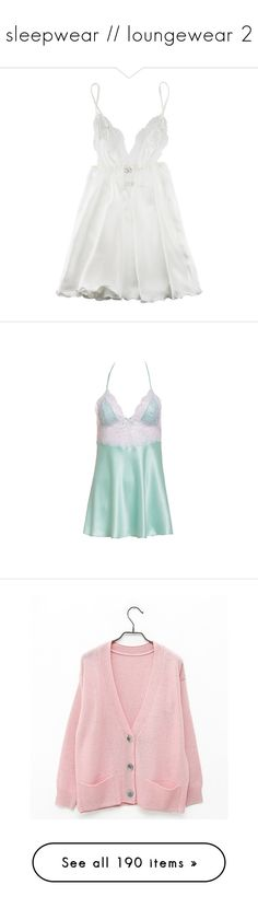"""""""sleepwear // loungewear 2"""" by noora-j ❤ liked on Polyvore featuring intimates, chemises, dresses, lingerie, underwear, women, lingerie slips, lingerie chemise, lacy lingerie and myla lingerie"""