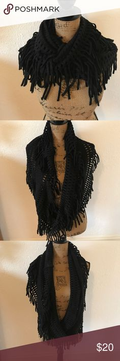STEVE MADDEN Black Infinity Scarf with Fringe Steve Madden brand, black with metallic thread, infinity scarf with fringe. In great condition - worn a handful of times.  A statement piece for the colder months. Acrylic/poly/metallic blend. Non smoking home, no trades Steve Madden Accessories Scarves & Wraps