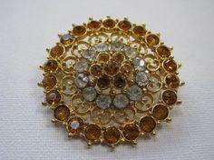 Gold Plated Gold Gemstone Vintage Brooch by MissieMooVintageRoom