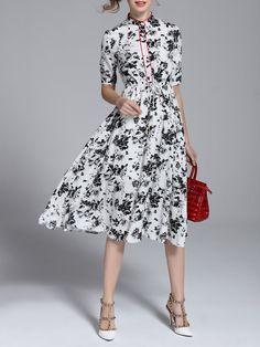 #AdoreWe StyleWe Midi Dresses - Viva Vena Short Sleeve Vintage Floral A-line Midi Dress - AdoreWe.com