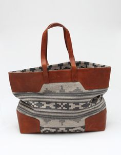 portland collection. pendleton canyonville wool and leather tote bag