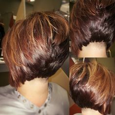 Undercut stacked bob with high lights and low lights ❤❤ More