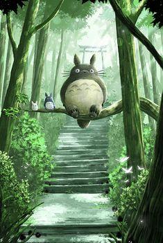 Totoro Ghibli Fanart by Ruby--Art Art Anime, Anime Kunst, Anime Artwork, Studio Ghibli Films, Art Studio Ghibli, Studio Ghibli Store, Hayao Miyazaki, My Neighbor Totoro Characters, Howl's Moving Castle