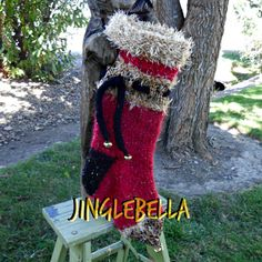 Red Hand Knit Christmas Stocking JingleBella by JingleBellSocks