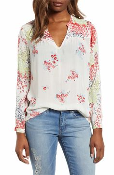 Lucky Brand Womens Eyelet Scalloped Edge Peasant Top