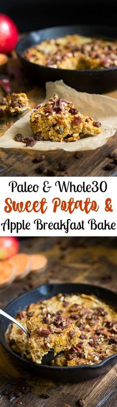 Paleo and sweet potato apple breakfast bake that's a naturally sweet, simple, comforting and healthy one-skillet breakfast (Healthy Breakfast Recipes) Breakfast And Brunch, Apple Breakfast, Breakfast Bake, Breakfast Recipes, Breakfast Healthy, Breakfast Potatoes, Avacado Breakfast, Fodmap Breakfast, Sweet Potato Breakfast