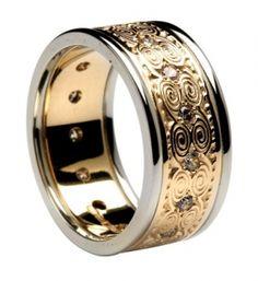 Gold Newgrange Diamond Wedding Ring with White Gold Trim