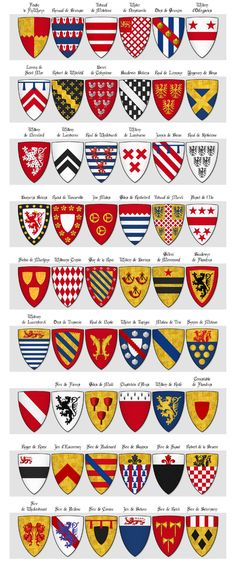 Modern illustration of The Dering Roll of Arms - Panel 6 - arms 271 to 324