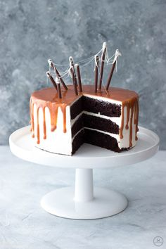 Chocolate Cake with Sweet Potato and Caramel Sauce