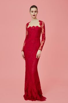 Lovely Red Laced Evening Gown - Marchesa Notte Pre-Fall 2016 Collection Photos - Vogue