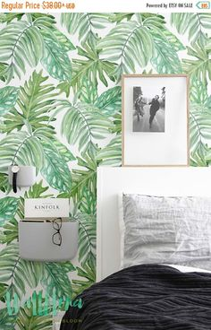 ON SALE 30% Monstera leaves Pattern Wallpaper  by WallfloraShop