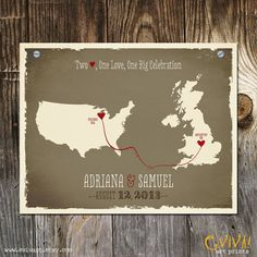 USA and United Kingdom Custom Wedding Print - Geography Love Collection - 11x14 inches Customized Print