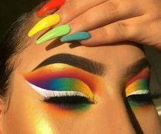 Rainbow make up 🌈🖤 Makeup Eye Looks, Eye Makeup Art, Colorful Eye Makeup, Crazy Makeup, Cute Makeup, Pretty Makeup, Skin Makeup, Makeup Inspo, Eyeshadow Makeup