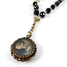 Victorian Mourning Necklace, LOVED ONES Pocket Watch Fob Necklace