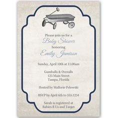 Invite guests to your boy baby shower with this vintage themed invitation featuring a toy wagon on a linen background, bordered in navy blue.  White envelope included.