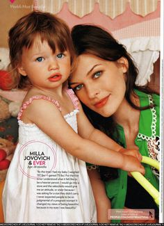 beautiful mila jovovich and her gorgeous identical daughter, Ever