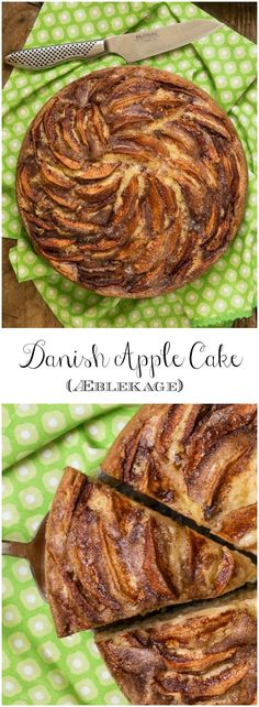 Danish Apple Cake -a super tender yellow cake laced and topped with delicious cinnamon-sugar apple slices.