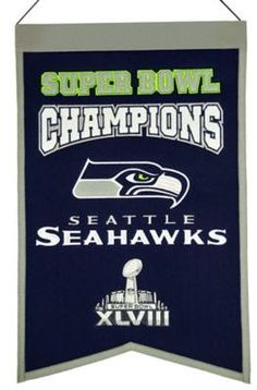 $30.99 - NFL Seattle Seahawks Super Bowl Championship Banner - Celebrate your favorite team's lifetime achievements with the NFL Super Bowl Champions Banner. Showcasing team colors and championship logos, this festive pennant is a great way to decorate any sports fan's home or office. Man Cave, sports fan, NFL banner, team banner. pendant