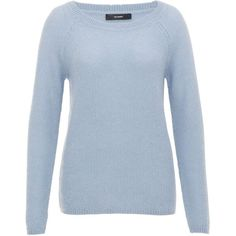 Hallhuber Chunky knit raglan sleeve jumper ($105) ❤ liked on Polyvore featuring tops, sweaters, light blue, women, hallhuber, jumper top, raglan sleeve sweater, raglan top and blue sweater