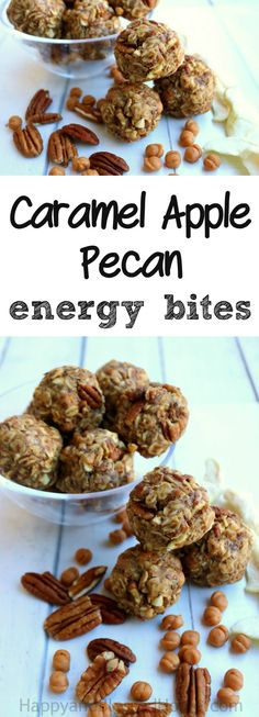 How about a protein powered snack? Just mix, roll and eat these no bake Caramel Apple Pecan Energy Bites! It's a cross between an apple pie and caramel apples only it's healthy! This easy recipe takes only minutes to make. Ad #SpreadTheMagic Add 1/2 cup chocolate chips for a cross between a peanut butter cup and a caramel apple. YUM! Great party appetizer or after-school snack!