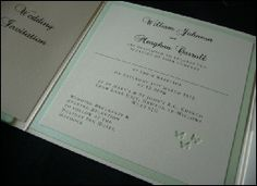 Ivory & Mint Green Pocketfold Wedding Invitation with a butterfly theme