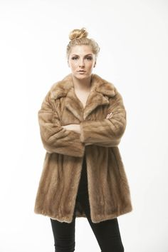 d897153f751 Autumn Haze Mink Fur Jacket Vintage 1960 Swing Coat